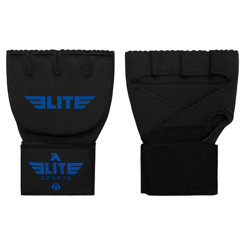 Elite Sports Black/Blue Cross Muay Thai Quick Gel Hand Wraps