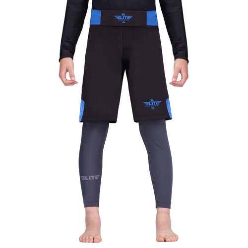 Elite Sports Jack Series Black/Blue Kids Bjj NO-GI Shorts