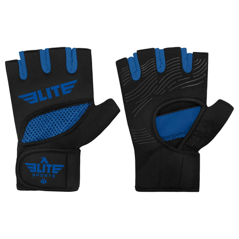 Elite Sports Black/Blue Cross Muay Thai Gel Hand Wraps