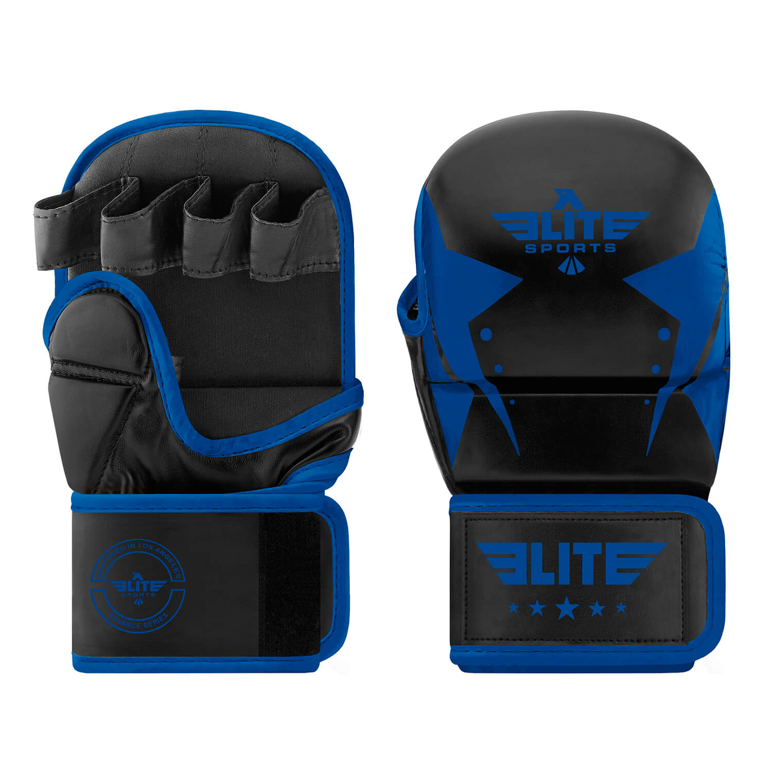Load image into Gallery viewer, Elite Sports Star Series Black/Blue MMA Grappling Gloves