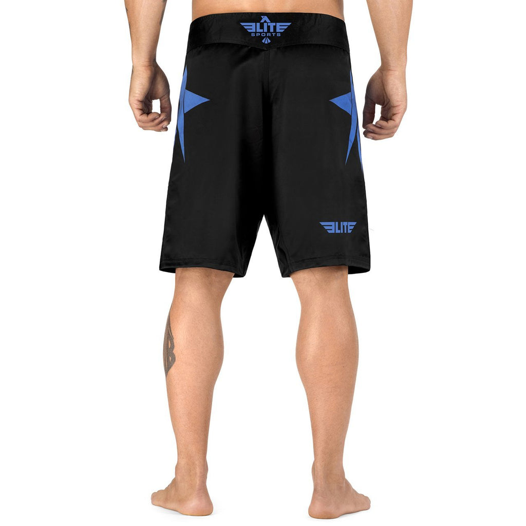 Elite Sports Star Series Sublimation Black/Blue Brazilian Jiu Jitsu BJJ No Gi Shorts