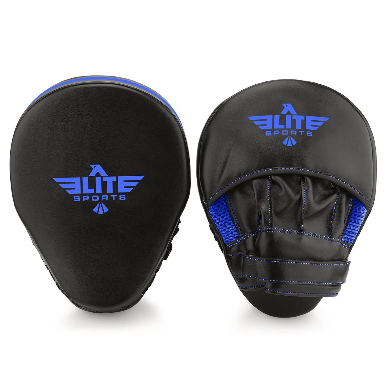 Load image into Gallery viewer, Elite Sports Essential Curved Black/Blue Boxing Punching Mitts