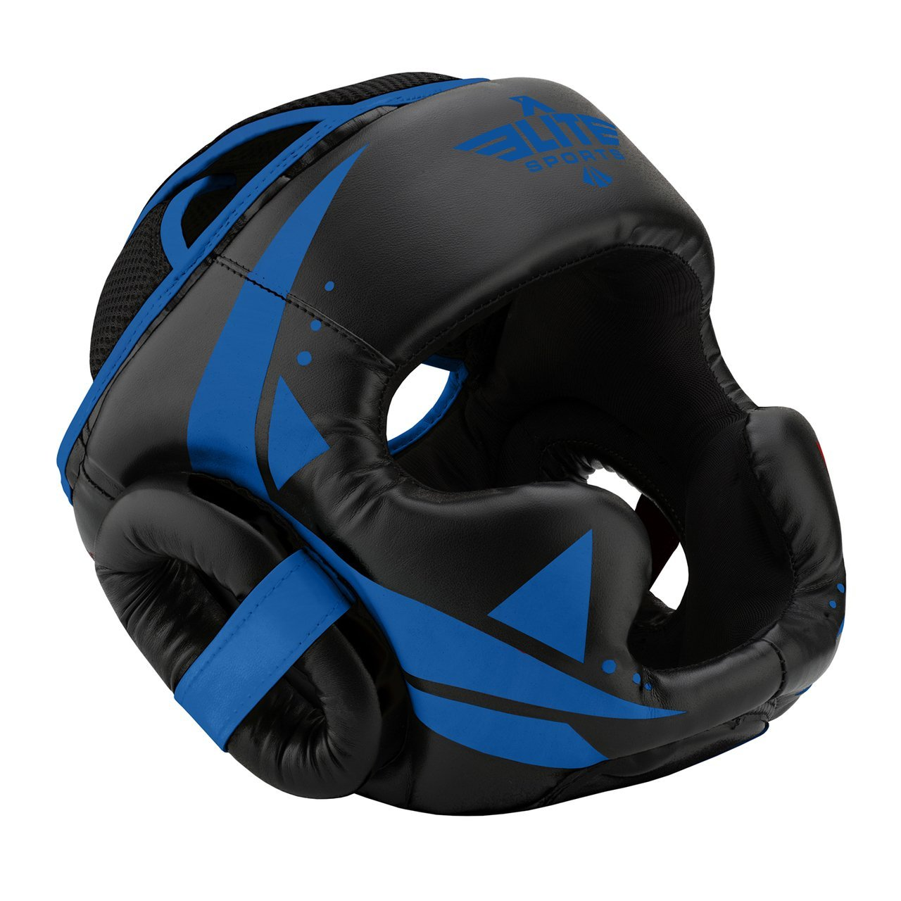 Load image into Gallery viewer, Elite Sports Star Series Sparring Black/Blue Boxing Headgear