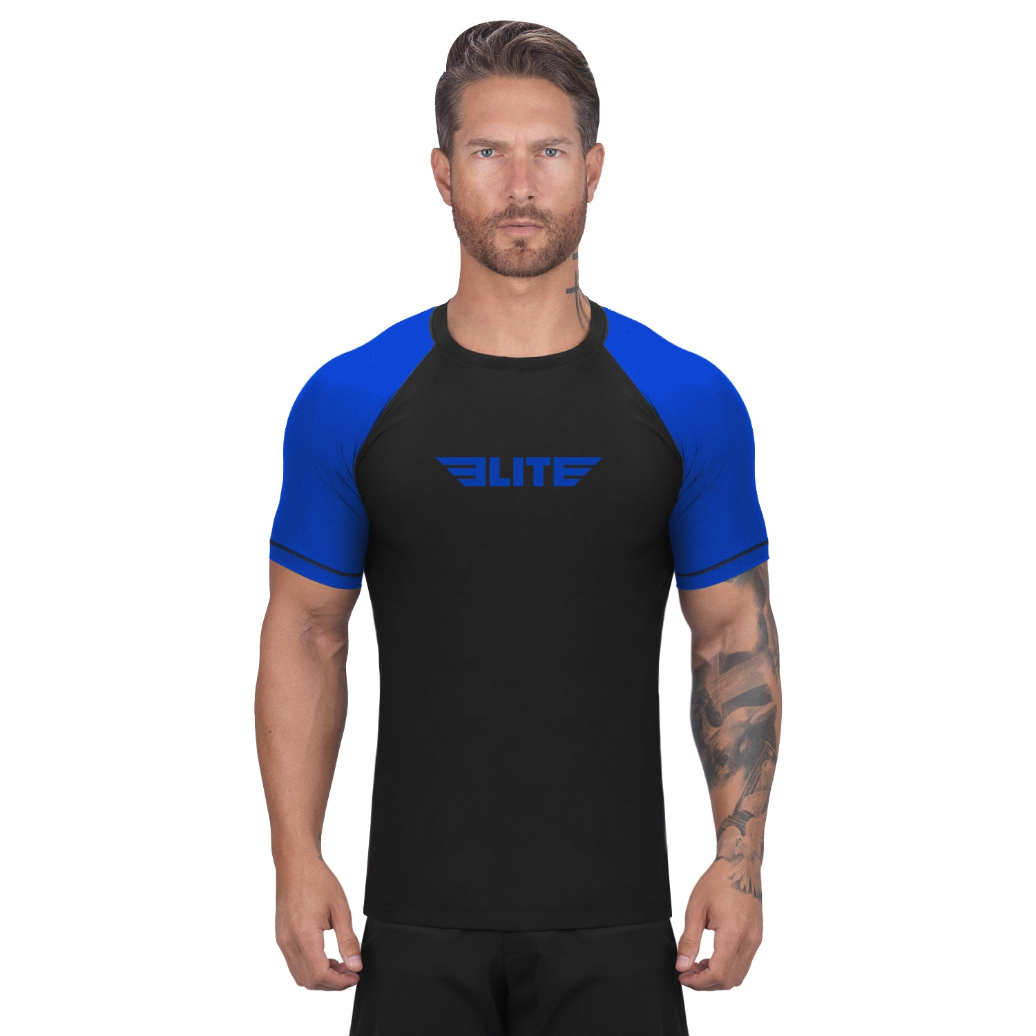 Elite Sports Standard Black/Blue Short Sleeve Wrestling Rash Guard