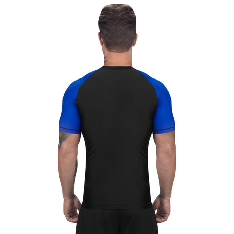 Elite Sports Standard Black/Blue Short Sleeve Brazilian Jiu Jitsu BJJ Rash Guard