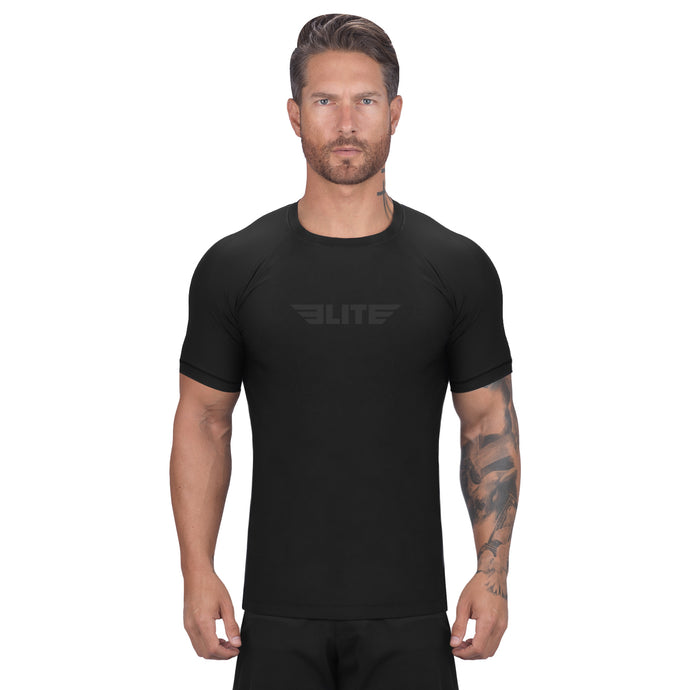 Elite Sports Standard Black Short Sleeve Brazilian Jiu Jitsu BJJ Rash Guard