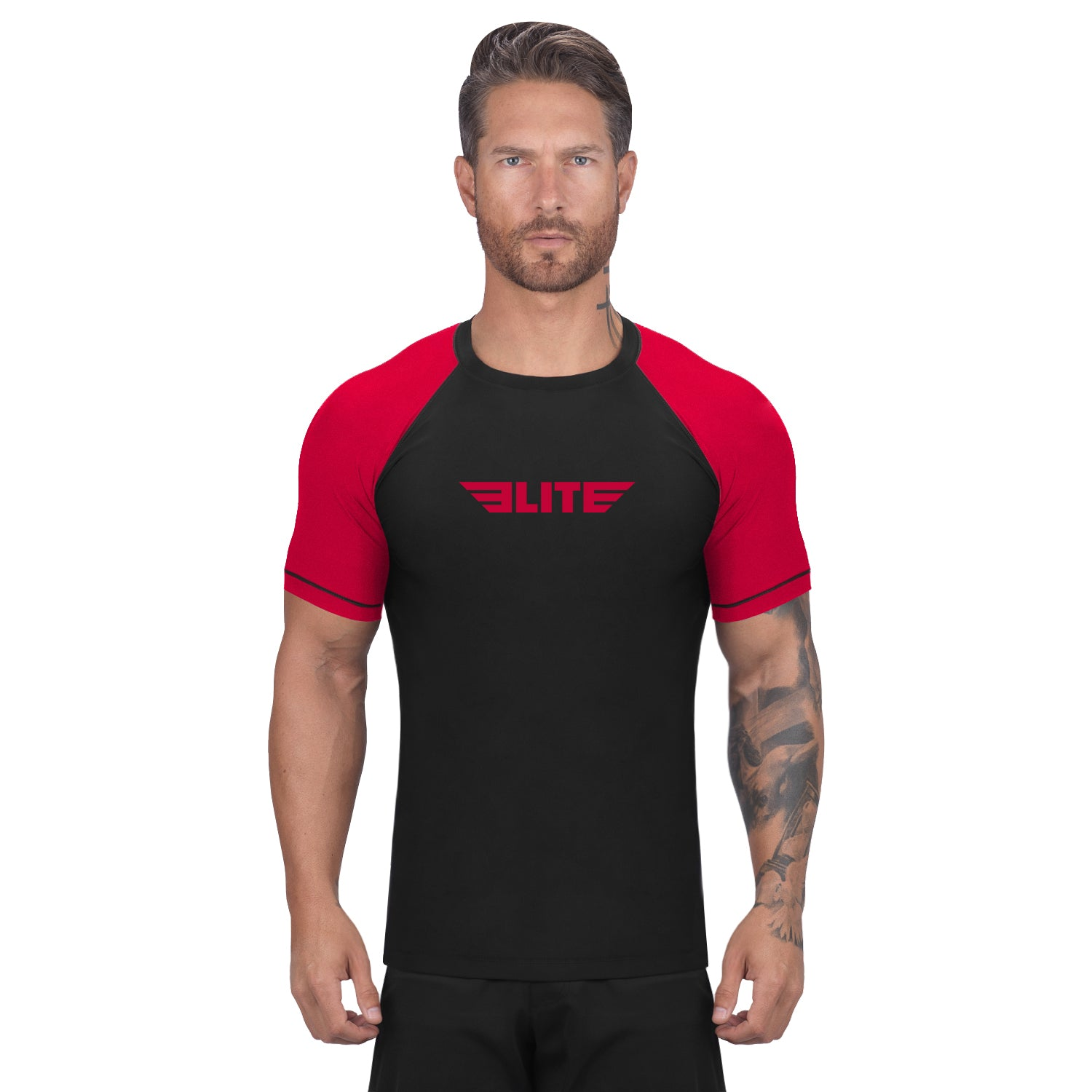 Elite Sports Standard Black/Red Short Sleeve Brazilian Jiu Jitsu BJJ Rash Guard