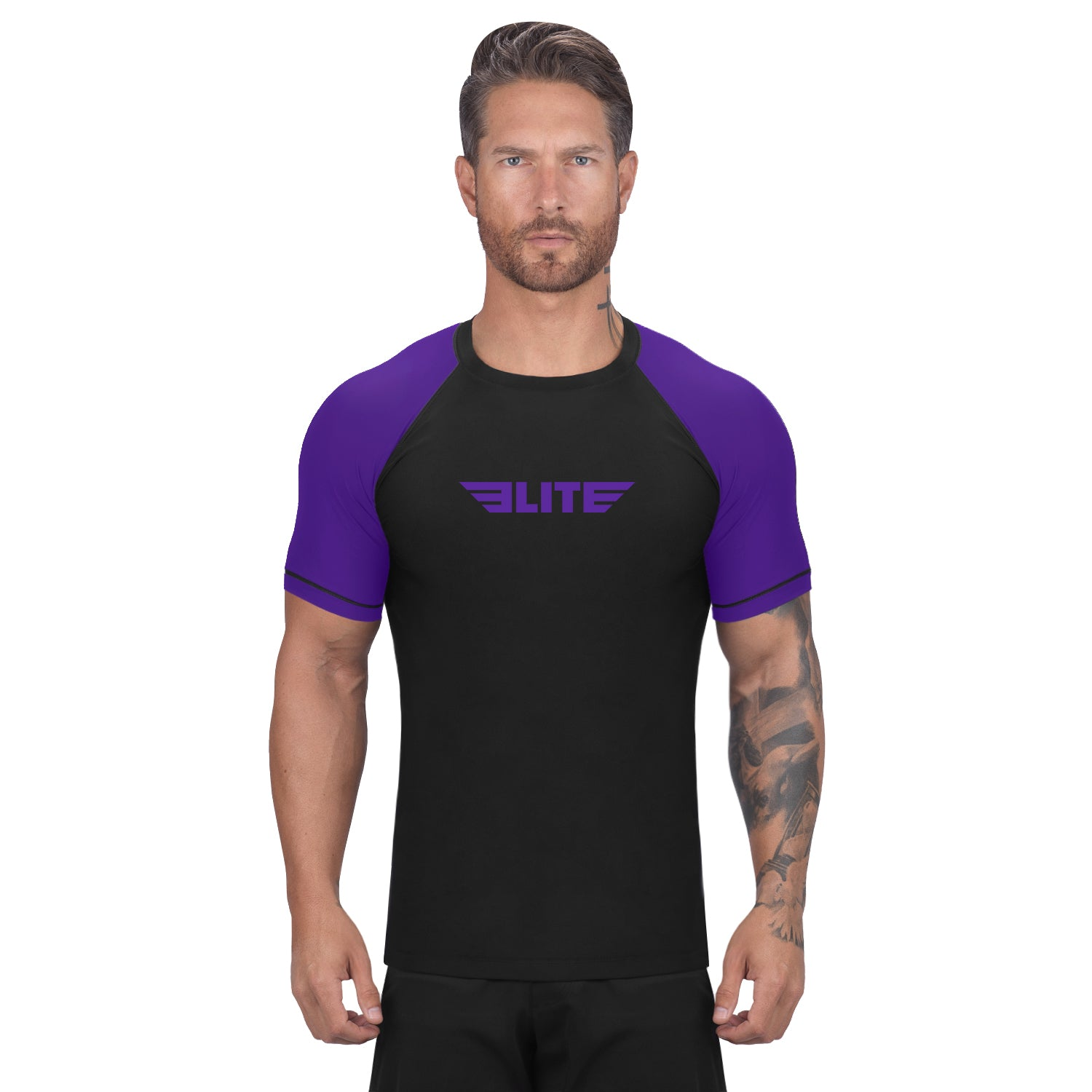 Elite Sports Standard Black/Purple Short Sleeve Muay Thai Rash Guard