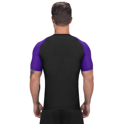 Elite Sports Standard Black/Purple Short Sleeve Brazilian Jiu Jitsu BJJ Rash Guard