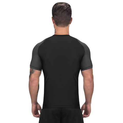 Elite Sports Standard Black/Gray Short Sleeve Muay Thai Rash Guard