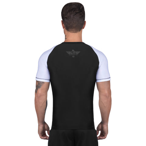Elite Sports Standard Black/White Short Sleeve Judo Rash Guard