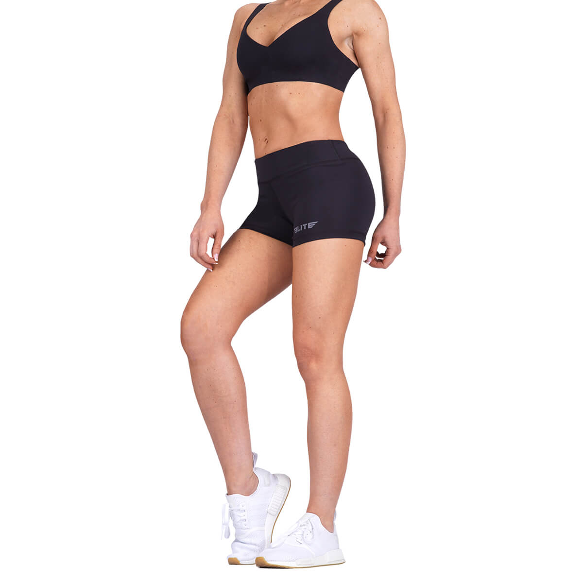 Load image into Gallery viewer, Elite Sports Women Plain Sublimation Black Crossfit Shorts