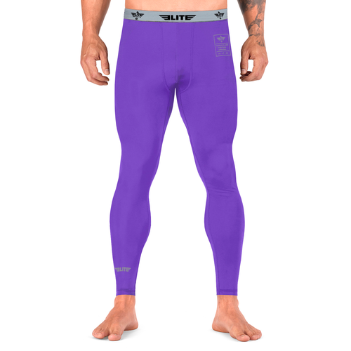 Elite Sports Plain Purple Compression Boxing Spat Pants