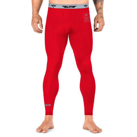Elite Sports Plain Red Compression MMA Spat Pants