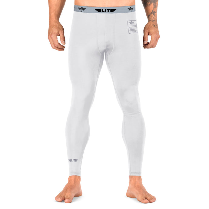 Elite Sports Plain White Compression Brazilian Jiu Jitsu BJJ Spat Pants