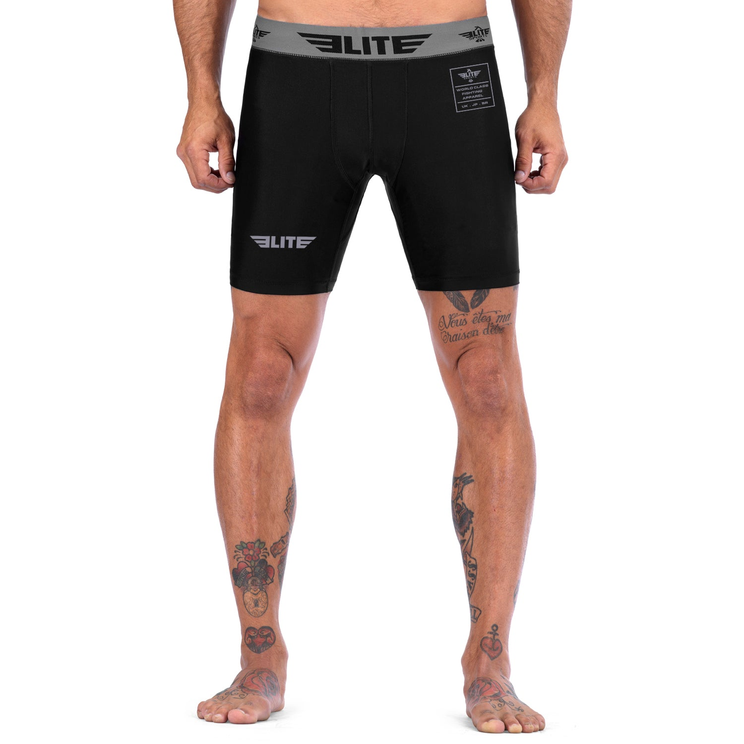 Elite Sports Black Compression MMA Shorts