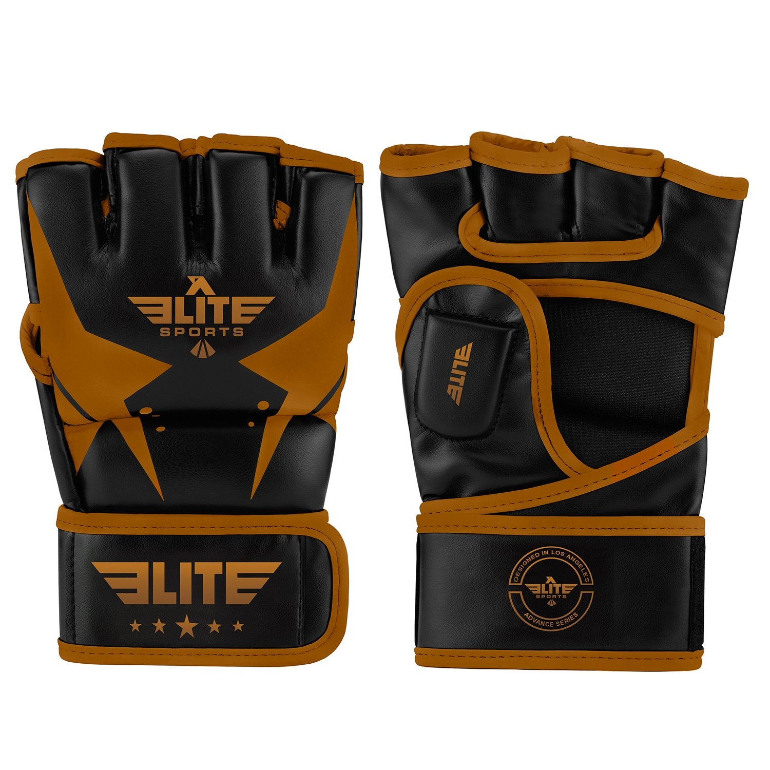 Elite Sports Pro Style Black/Copper MMA Half Mitts Grappling Gloves