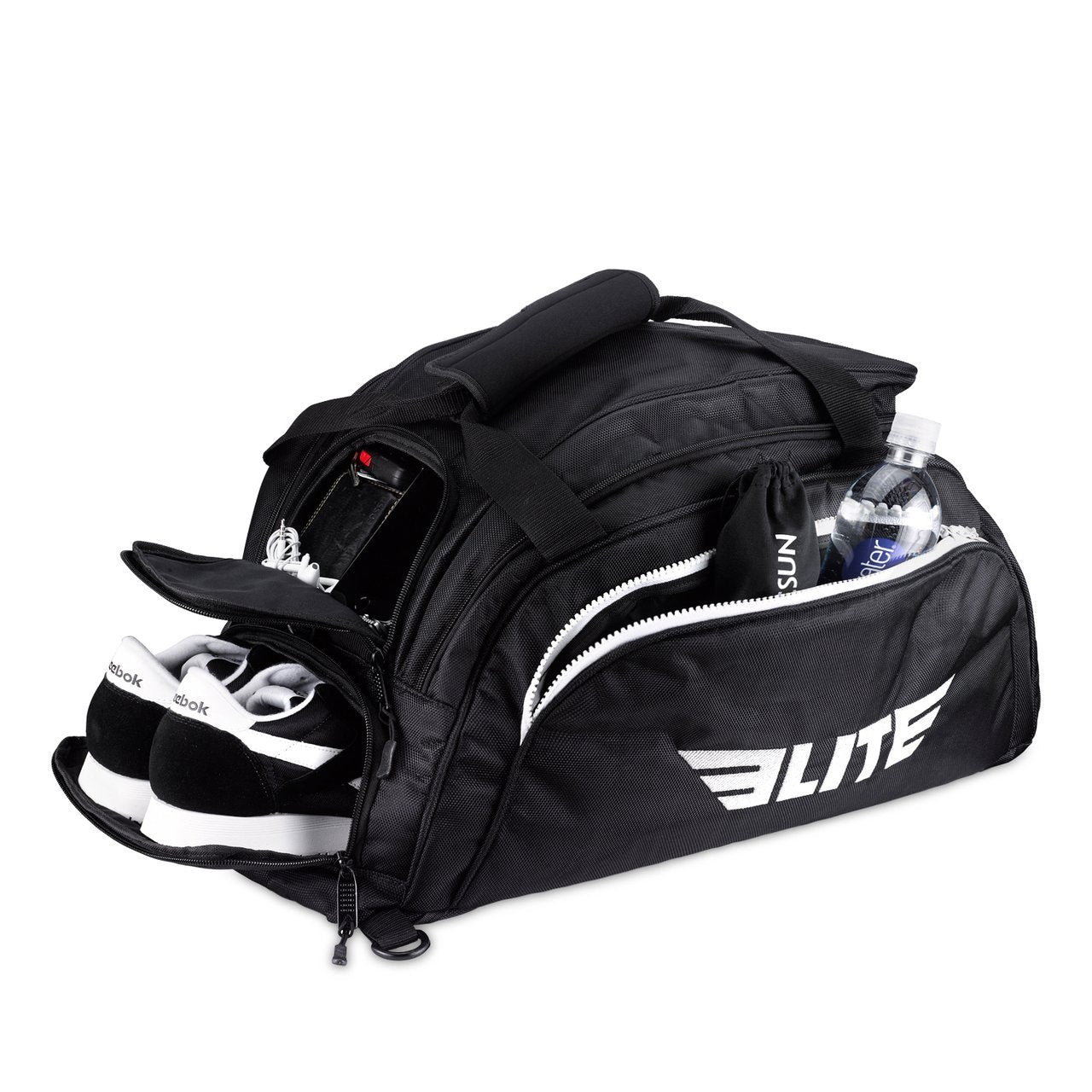 Load image into Gallery viewer, Elite Sports Warrior Series Black Large Duffel Boxing Gear Gym Bag & Backpack