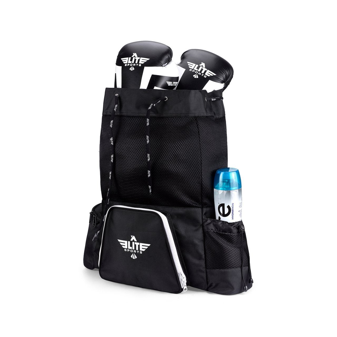 Load image into Gallery viewer, Elite Sports Mesh Black Medium Boxing Gear Gym Bag & Backpack
