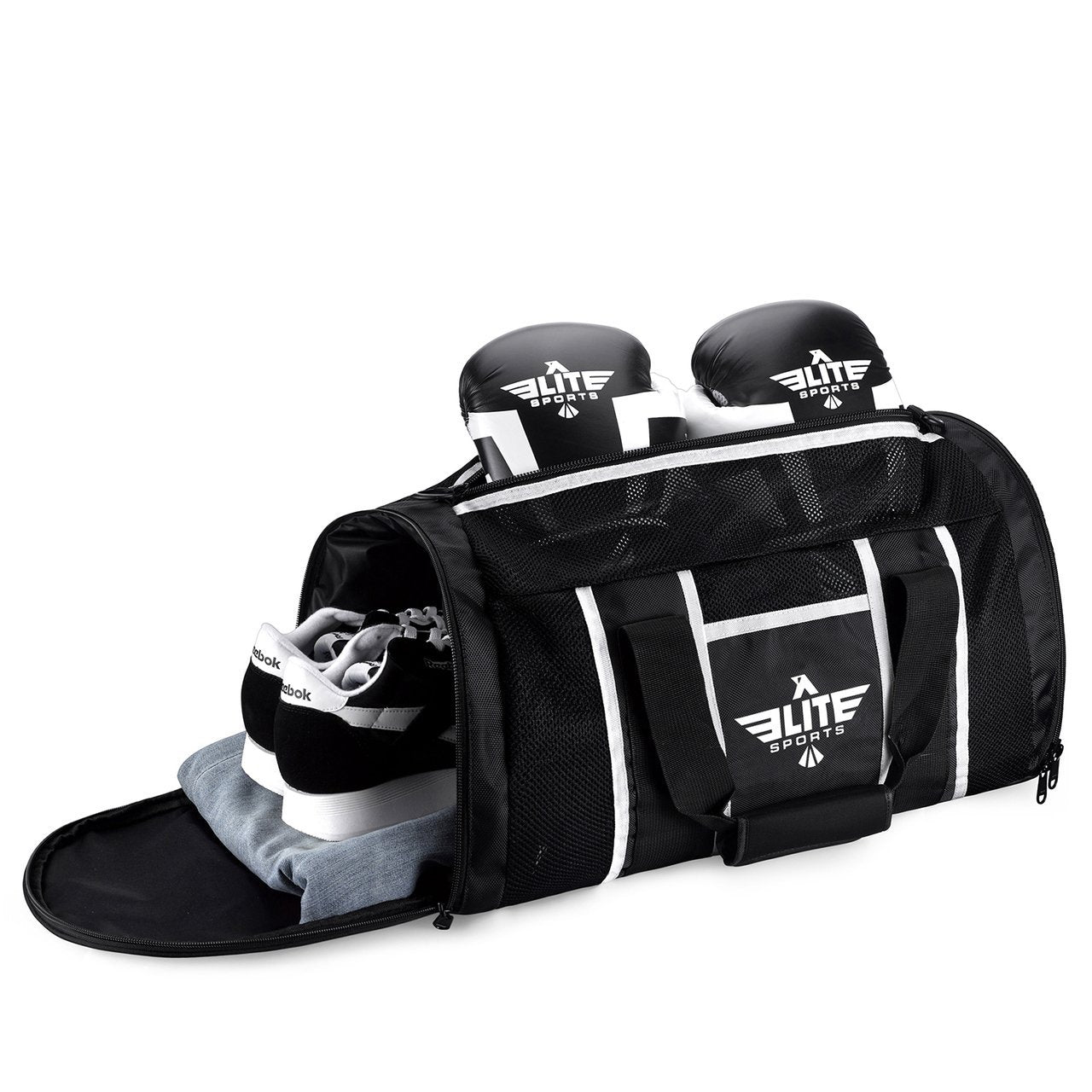 Load image into Gallery viewer, Elite Sports Mesh Black Large Boxing Gear Gym Bag