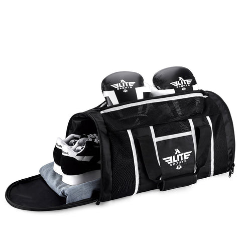 Elite Sports Mesh Black Large Boxing Gear Gym Bag