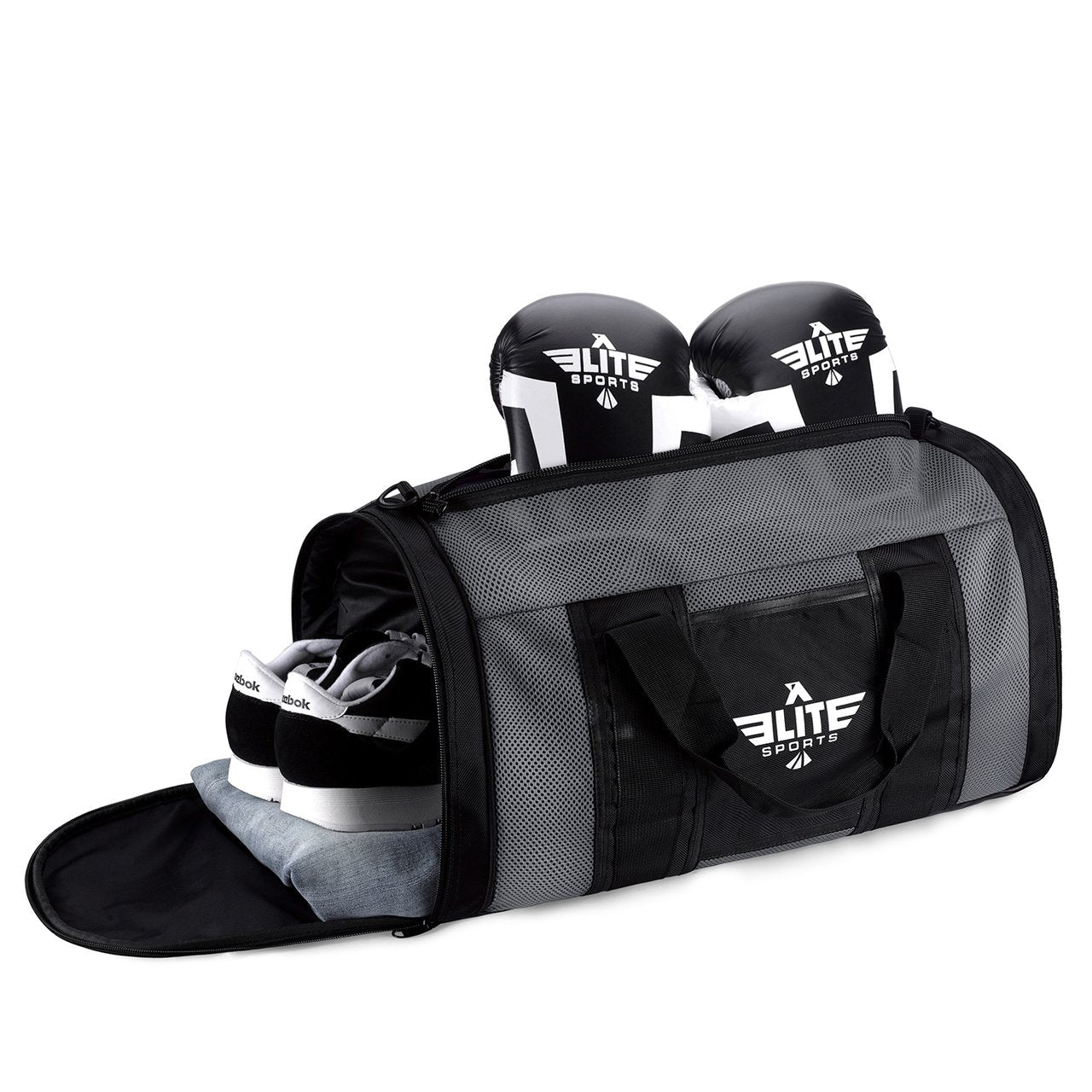 Load image into Gallery viewer, Elite Sports Mesh Gray Large Wrestling Gear Gym Bag