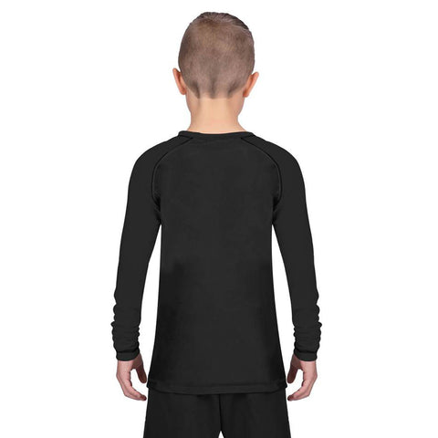 Elite Sports Standard Black Long Sleeve Kids Muay Thai Rash Guard