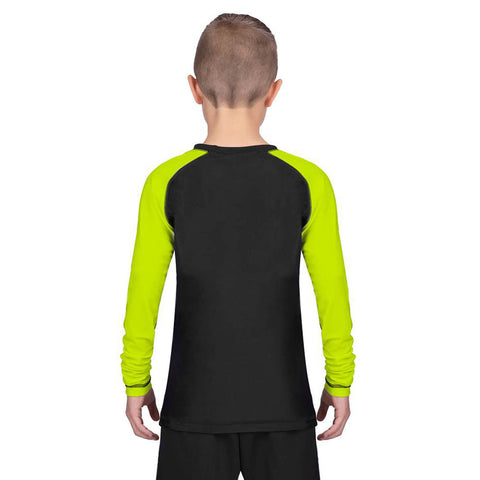 Elite Sports Standard Hi-Viz/Black Long Sleeve Kids Wrestling Rash Guard