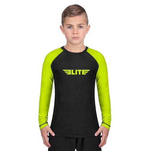 Elite Sports Standard Hi-Viz/Black Long Sleeve Kids BJJ Rash Guard