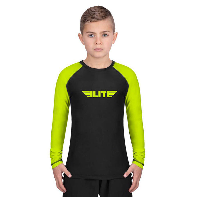 Elite Sports Standard Hi-Viz/Black Long Sleeve Kids Muay Thai Rash Guard