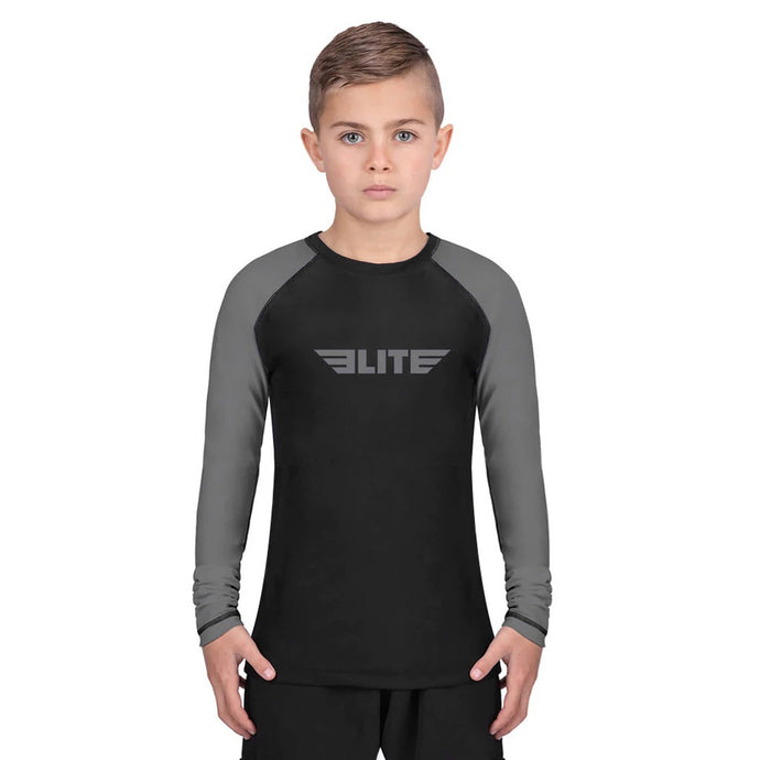 Elite Sports Standard Gray/Black Long Sleeve Kids Wrestling Rash Guard
