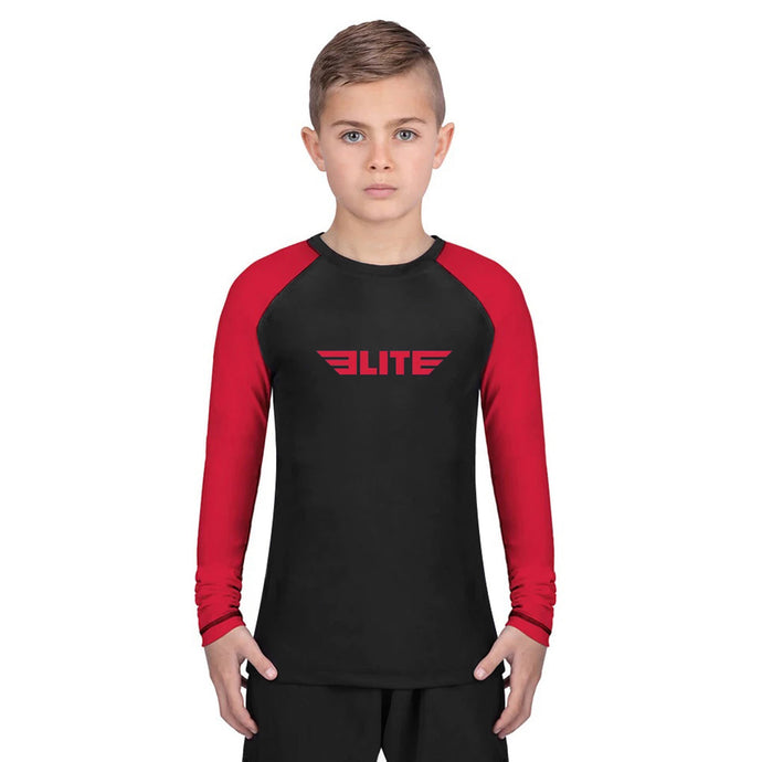 Elite Sports Standard Red/Black Long Sleeve Kids Muay Thai Rash Guard