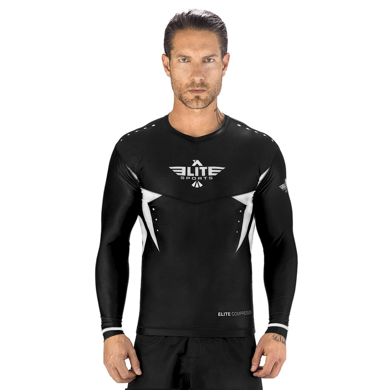 Load image into Gallery viewer, Elite Sports Star Series Sublimation Black/White Long Sleeve Muay Thai Rash Guard