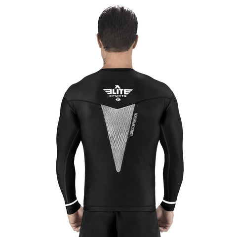Elite Sports Star Series Sublimation Black/White Long Sleeve Training Rash Guard