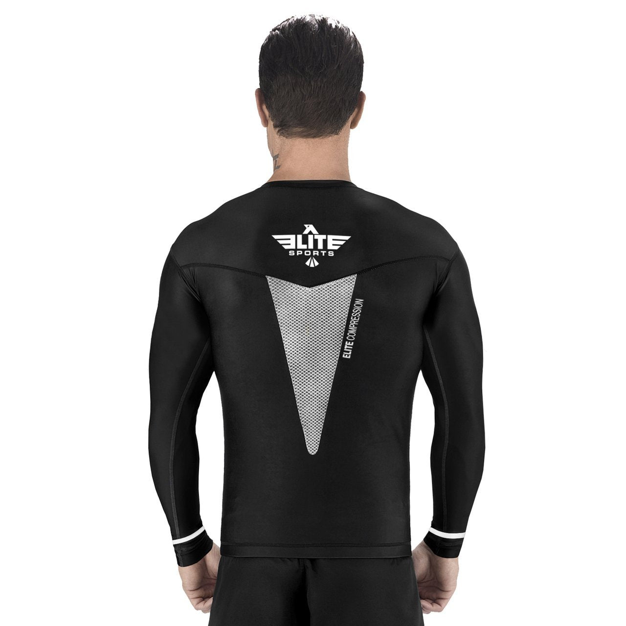 Load image into Gallery viewer, Elite Sports Star Series Sublimation Black/White Long Sleeve Wrestling Rash Guard