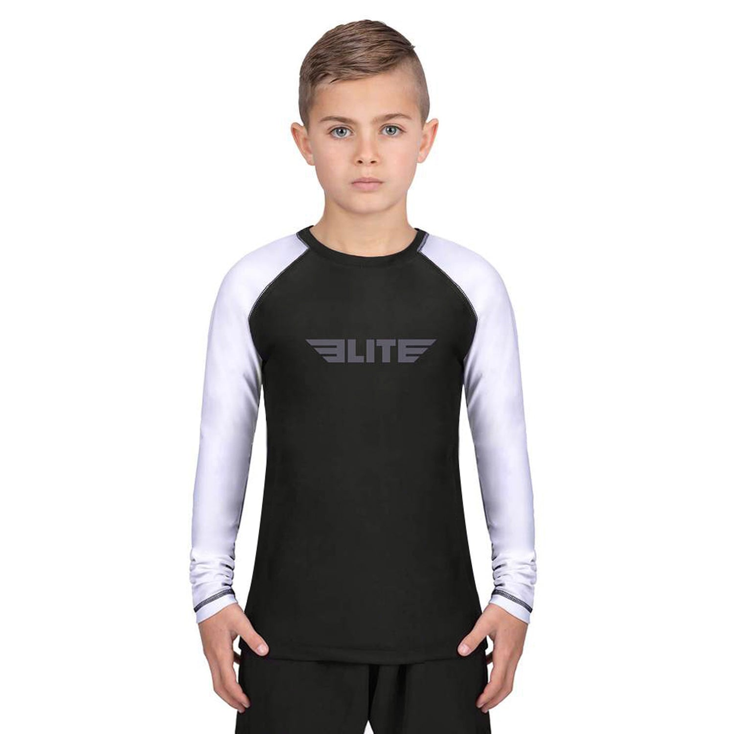Elite Sports Standard White/Black Long Sleeve Kids MMA Rash Guard