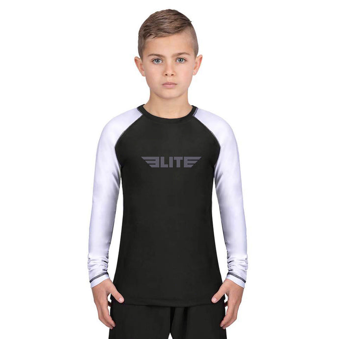 Elite Sports Standard White/Black Long Sleeve Kids Wrestling Rash Guard