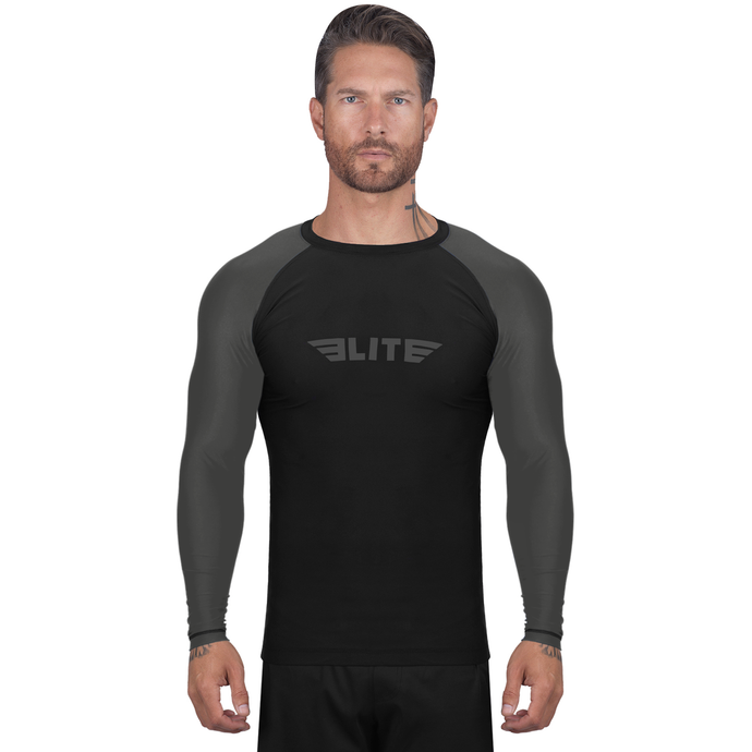 Elite Sports Standard Black/Gray Long Sleeve Brazilian Jiu Jitsu BJJ Rash Guard