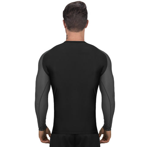 Elite Sports Standard Black/Gray Long Sleeve MMA Rash Guard