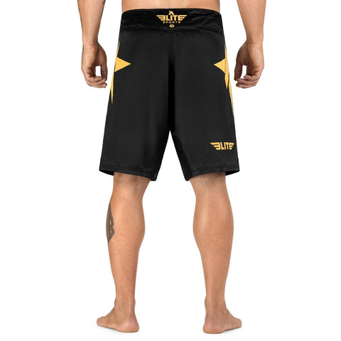 Elite Sports Star Series Sublimation Black/Gold MMA Shorts