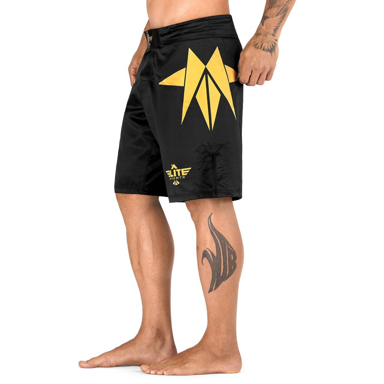 Load image into Gallery viewer, Elite Sports Star Series Sublimation Black/Gold Training Shorts