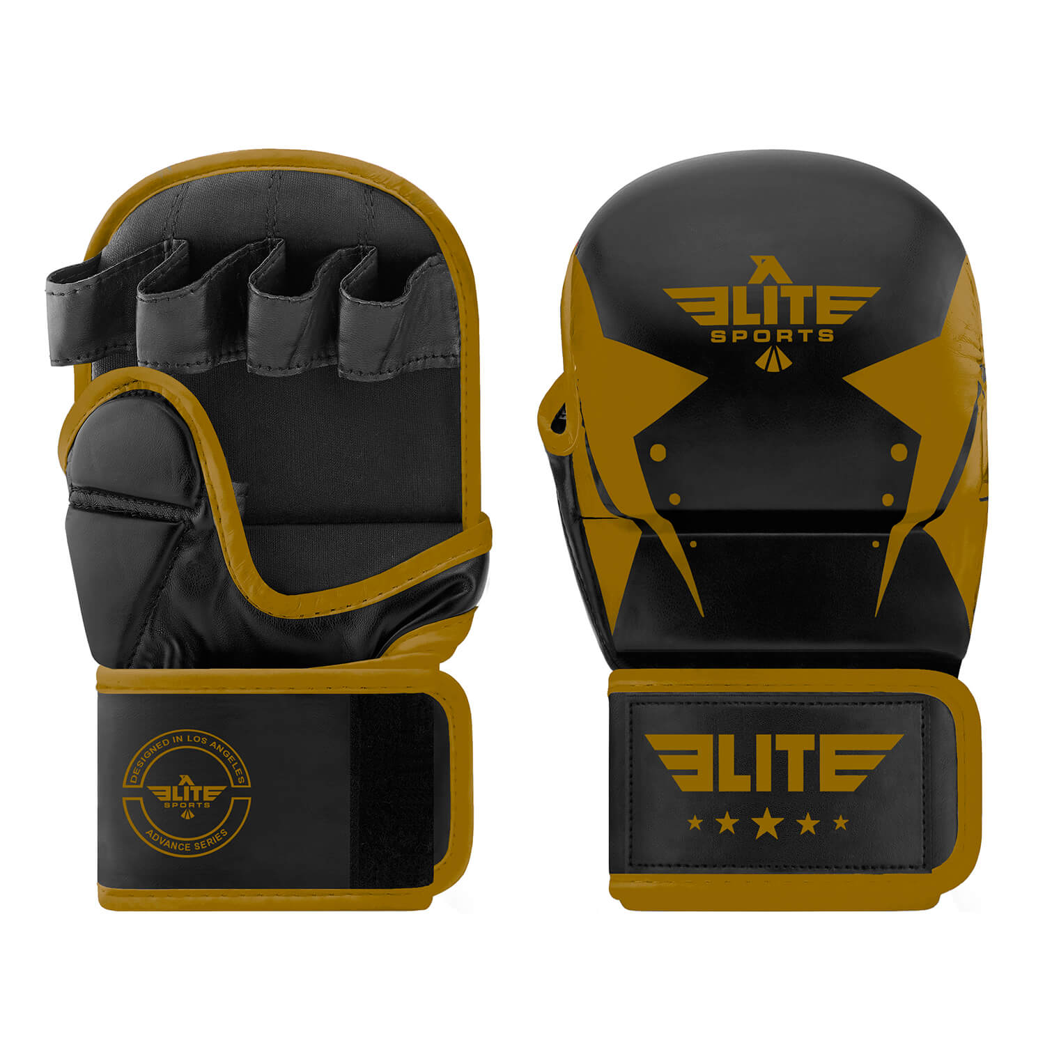 Load image into Gallery viewer, Elite Sports Star Series Black/Gold MMA Grappling Gloves