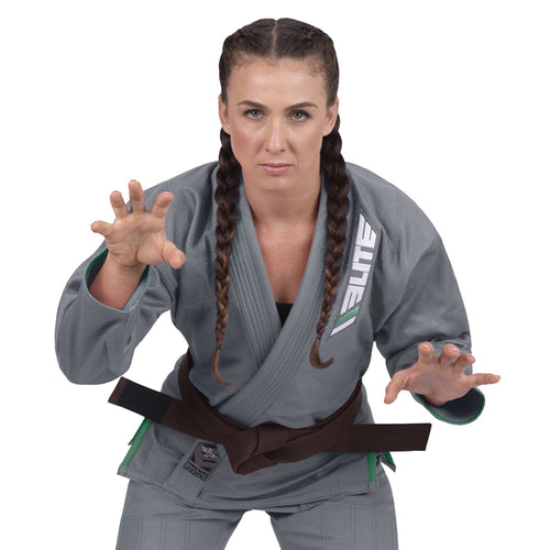 Elite Sports Ultra Light Preshrunk Gray Women Brazilian Jiu Jitsu BJJ Gi With Free White Belt