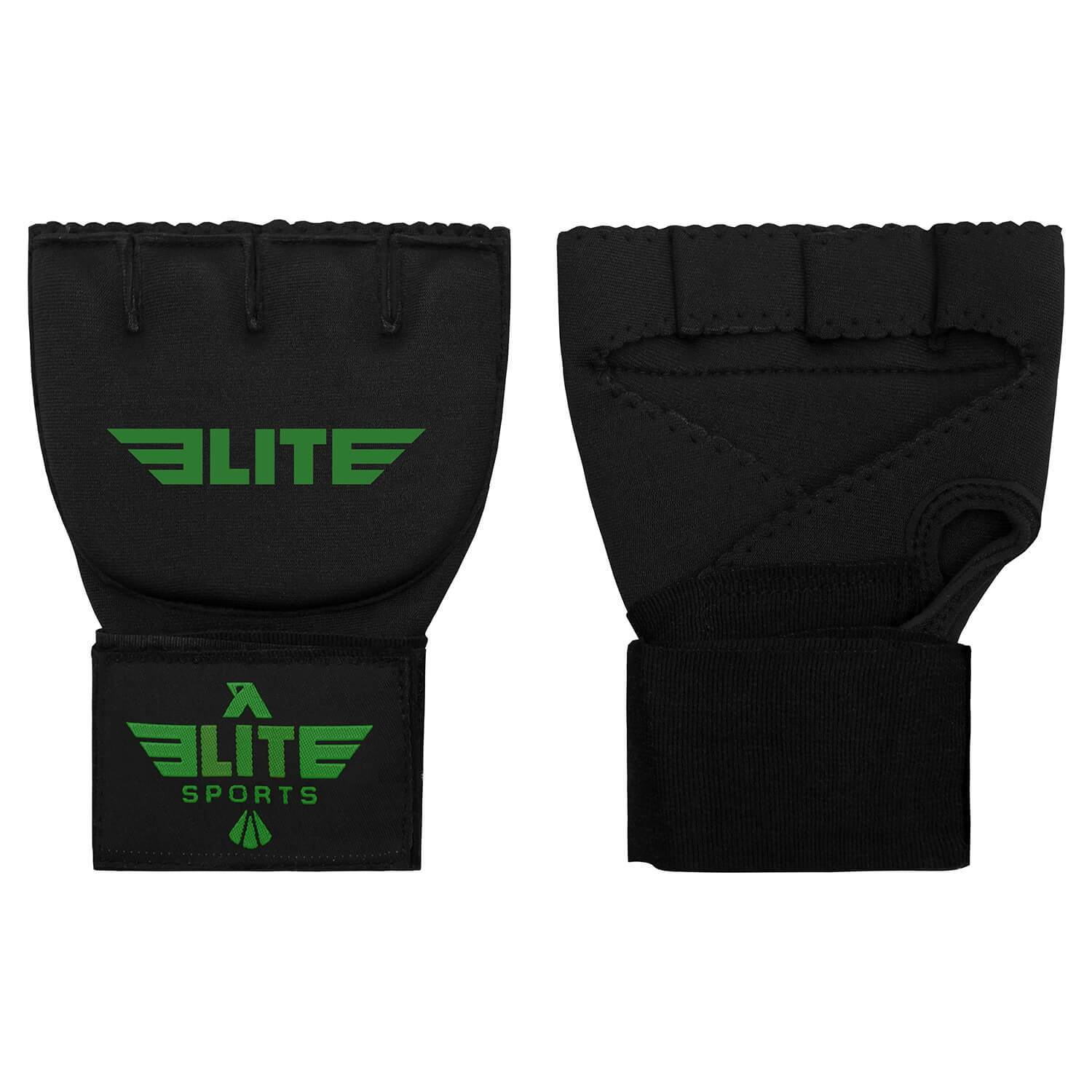 Elite Sports Black/Green Cross Boxing Quick Gel Hand Wraps