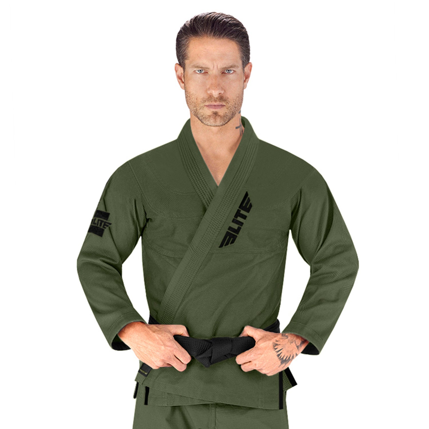 Elite Sports Ultra Light Preshrunk Military Green Adult Brazilian Jiu Jitsu BJJ Gi With Free White Belt