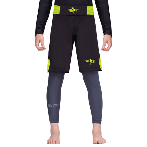 Elite Sports Jack Series Black/Hi-Viz Kids Bjj NO-GI Shorts