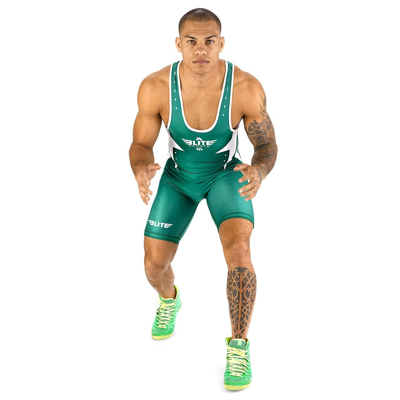 Load image into Gallery viewer, Elite Sports Star Series Green Wrestling Singlets