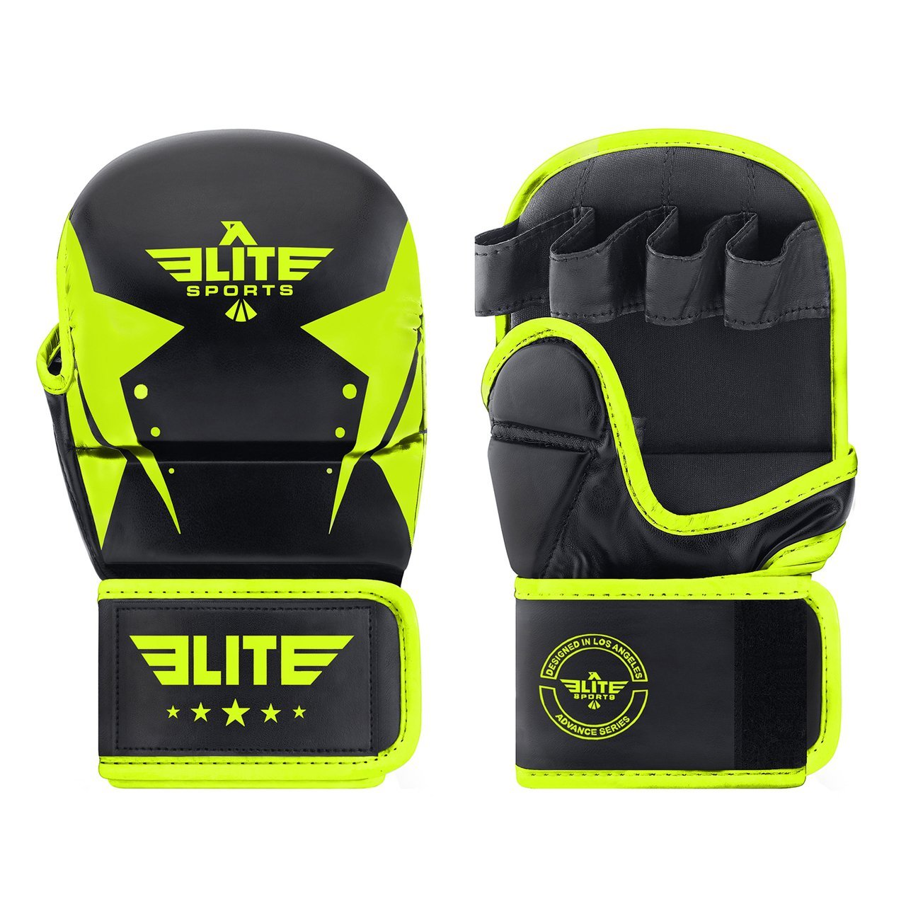 Load image into Gallery viewer, Elite Sports Star Series Black/Hi Viz MMA Grappling gloves