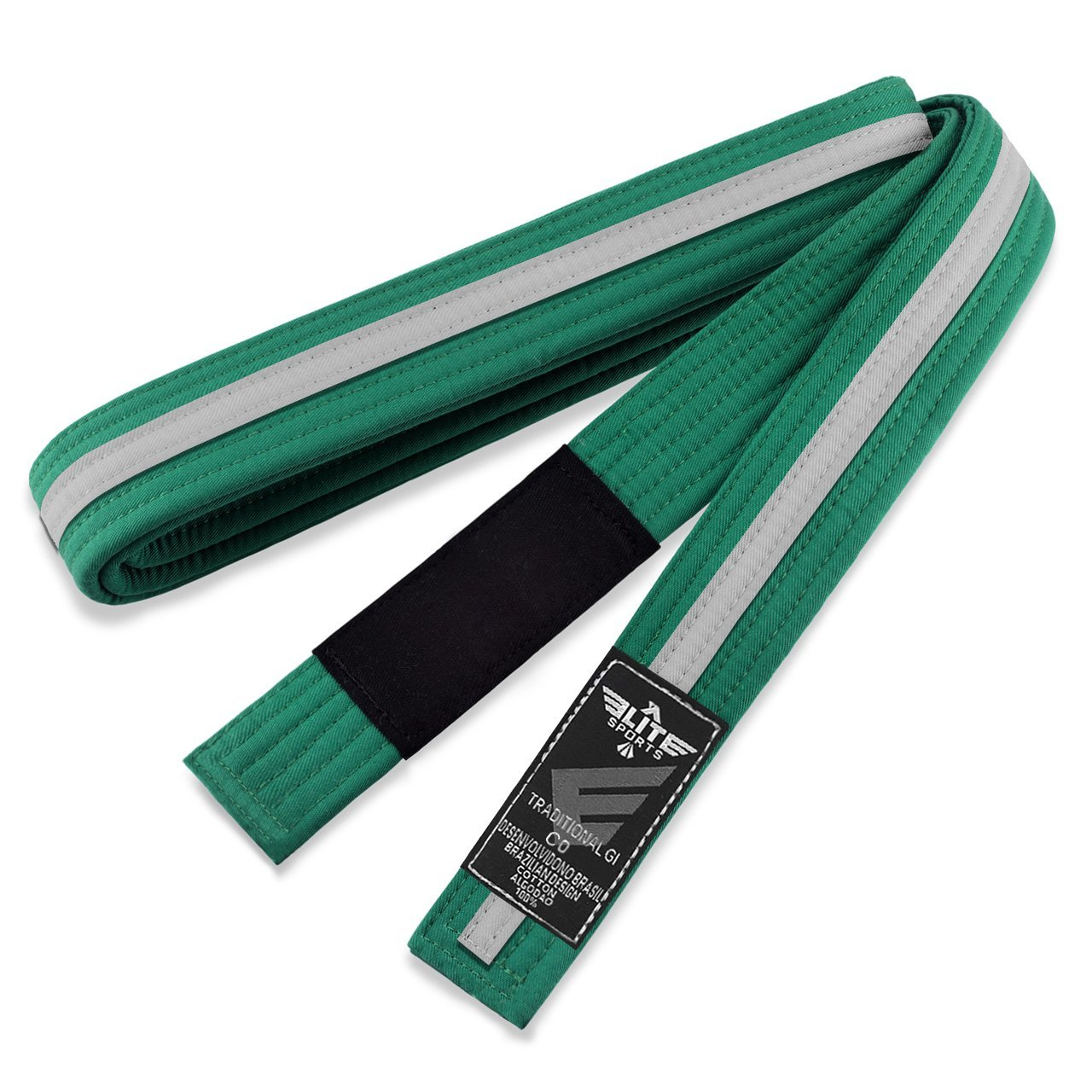Load image into Gallery viewer, Elite Sports Kids Brazilian Jiu Jitsu BJJ Green/White Belt