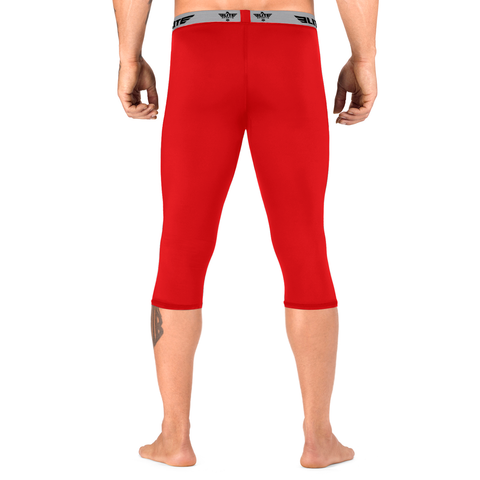 Elite Sports Three Quarter Red Compression Muay Thai Spat Pants